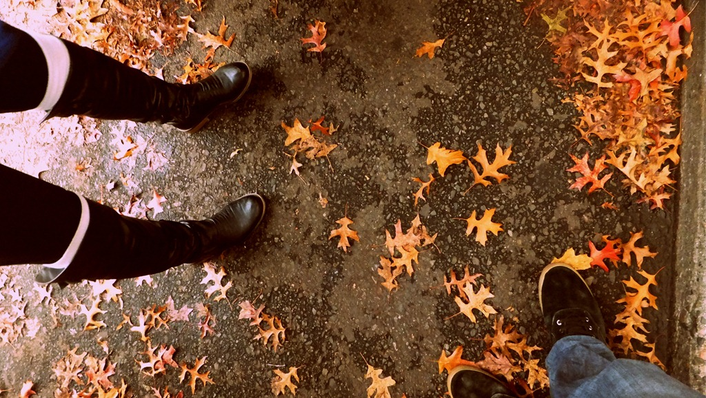 Autumn on the Northwest coast. Boots belong to Christa Ghent. Downtown Seattle, Washington