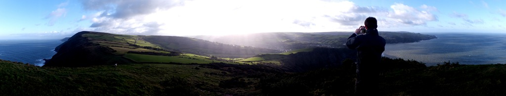 Panorama of the Exmoor and North Devon coast from Little Hangman