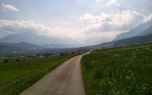 Looking West up the Inn valley towards Innsbruck from the town of Absam, Tirol Austria