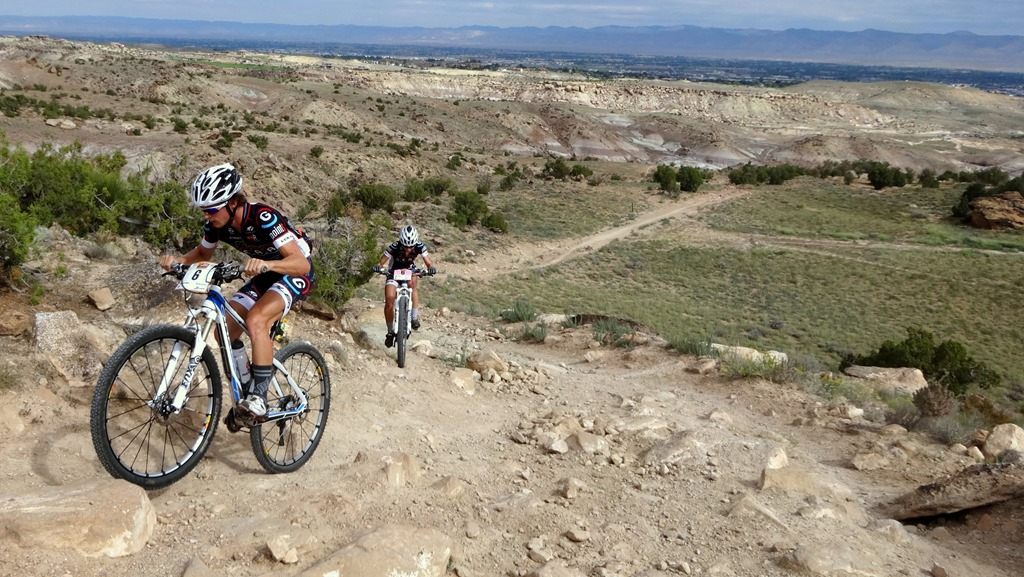 Sam and Deidre riding the Tabuguache trail in Grand Junction the day before the race