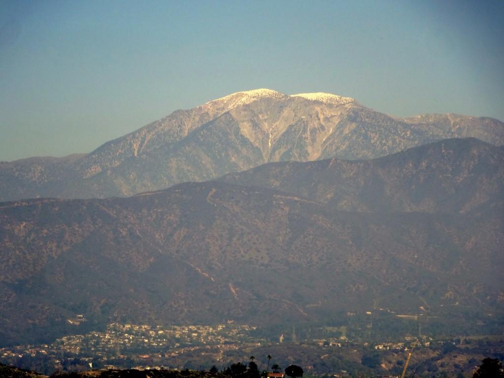 Mount San Antonio, through the smog of LA