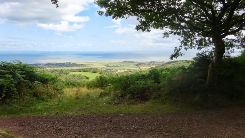 The race crossed the Knowle Plantation above Minehead a number of times, taking in all the good trails and some hard climbs between. This is the view due north, looking across the Bristol channel with Wales just clear in the distance