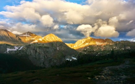 The sun breaking over Mt Jasper in the Indian Peaks