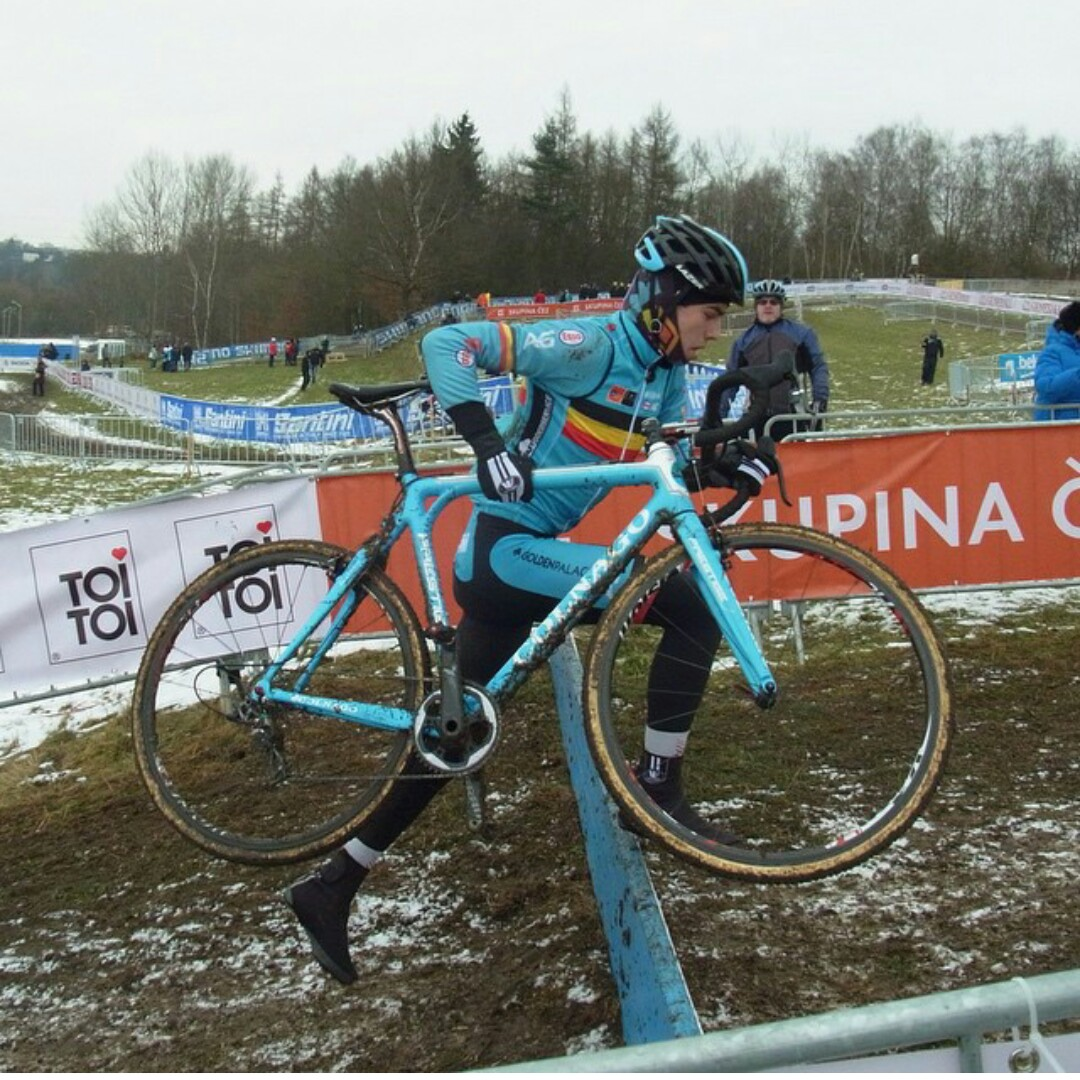 Van Aert was aboard a new CX1 equipped Colnago in Tabor